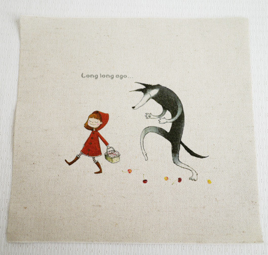 Zakka Multiple-Use Cotton Linen Fabric Hand-Painted Dyed THE LITTLE RED RIDING HOOD Home Decor Paintings/Placemats