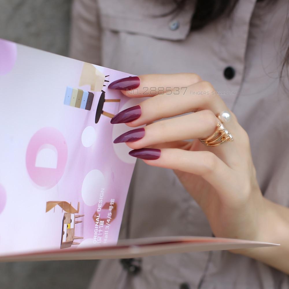 Pure New mountain peak Designs purple burgundy nail Fashion Full ...