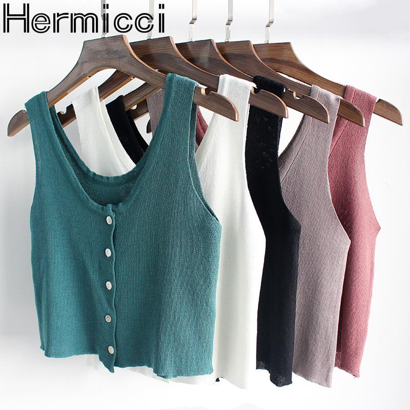Hermicci 2018 New Summer Knitted Tank Tops Women Camisole Vest Simple Stretchable V Neck Slim Sexy Top Button Camis Spaghetti
