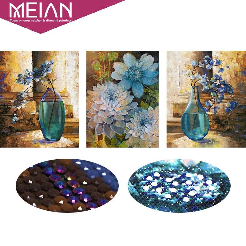 Meian, 5d, especial en forma de diamante, Bordado, flor, florero, completo, diy, pintura del diamante, puntada cruzada, mosaico del diamante, cuentas imagen, decoración