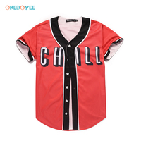 Onedoyee Summer Men Baseball Jerseys Red Button Down Outwear Short Sleeve Mens Shirts Baseball Suits Base