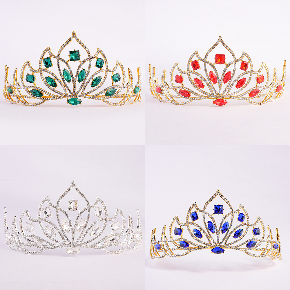 Snuoy Silver Wedding Crowns Flower Bridal Tiaras Gold Red/Green Crystal Tiaras Lotus Crown Party Halo Woman Hair Jewelry 2018