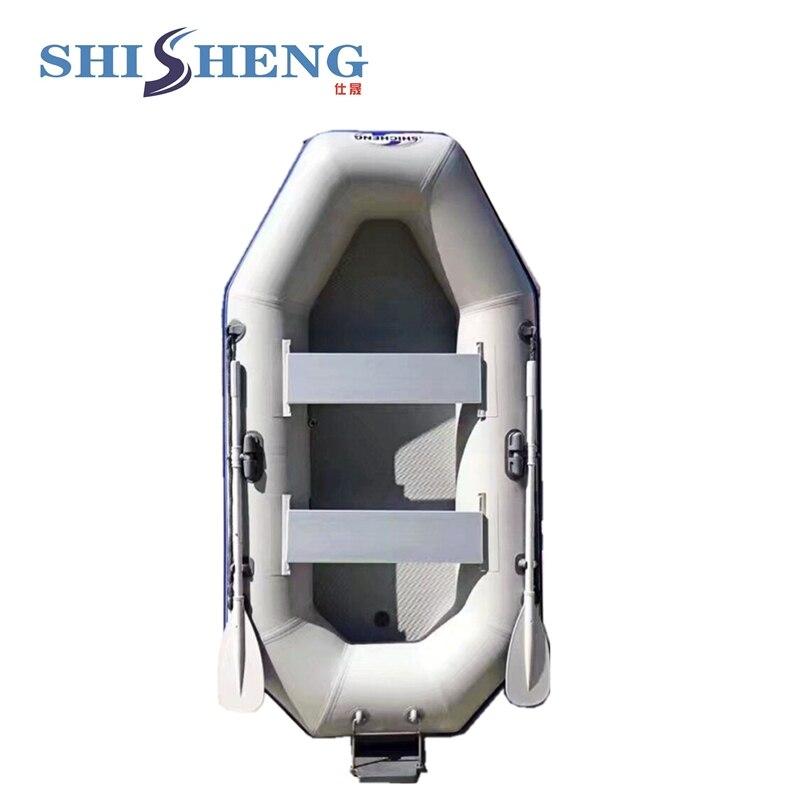 Petit bateau de pêche populaire gris/vert canot de pêche de bonne qualité bateau à voile en pvc avec des sièges pour une ou deux personnes