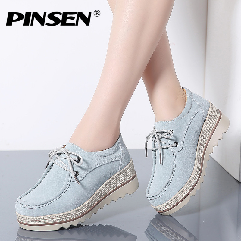 PINSEN 2019 Autumn Women Flats Thick Soled   Leather     Suede   Platform Sneakers Shoes Woman Flat Casual Lace-up Female Shoes creepers