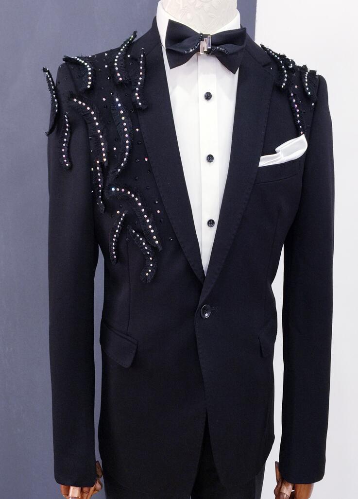 Vêtements noirs hommes costumes designs masculino homme terno scène costumes chanteurs veste hommes paillettes blazer danse star style robe - 4