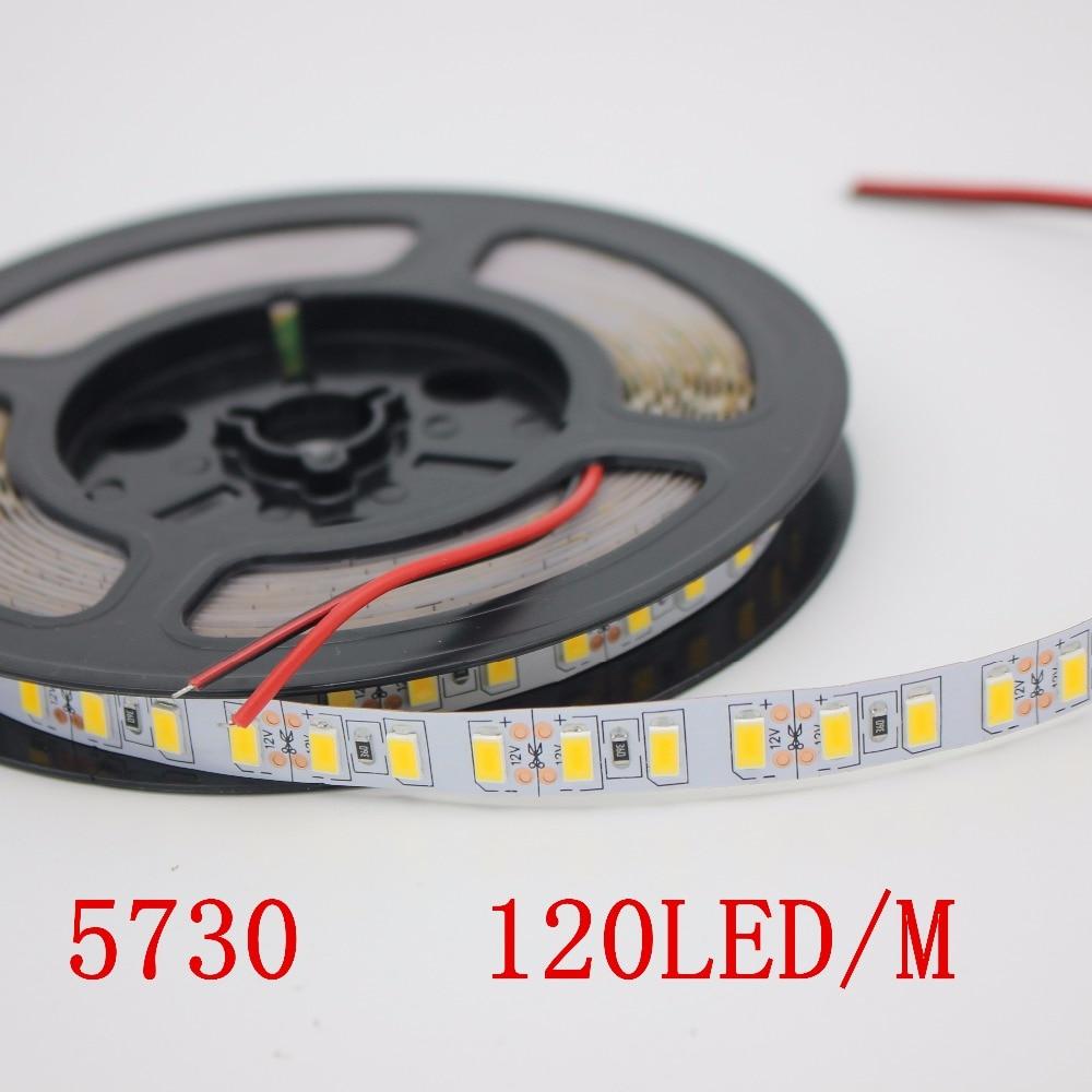 120leds/m LED Strip Light tape 12V 5730 SMD White Warm White 1m 2m 3m 4m 5m For Ceiling Counter Cabinet Light non waterproof jrled 144w 10000lm 3500k 600 5730 smd led warm white light strips 2 pcs 5m dc 12v