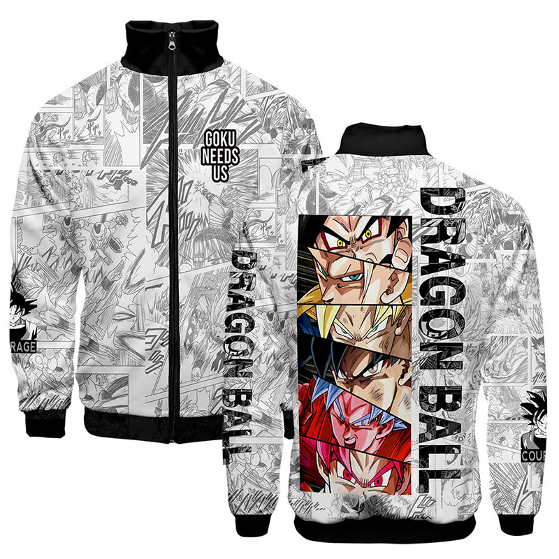 3d Stand Collar Print Anime Cartoon Dragon Ball Z Fashion Men Women Zipper Hoodies Jackets Long Sleeve Zip Up 3D Sweatshirt Tops 3