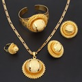 Bangrui Наступление Нового 24 К Золото Ювелирные Изделия Кулон Цепи Клип Серьги Кольцо Браслет Набор