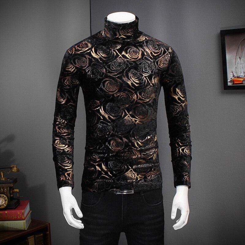 Black Gold Rose Tshirt Men Turtle Neck Men Velvet Slim Fit Long Sleeve Floral Tee Shirt Homme Night Club T Shirt Men Plus 5xl