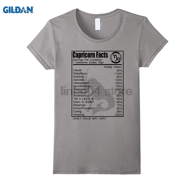 GILDAN Capricorn Facts T-shirt Capricorn Awesome Zodiac Sign Womens T-shirt Dress female T-shirt glasses Womens T-shirt