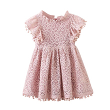 цена на Girls Dresses Kids Baby Girls Floral Cute Lace Princess Hollow Dress Clothes Summer Sleeveless Dress Girl