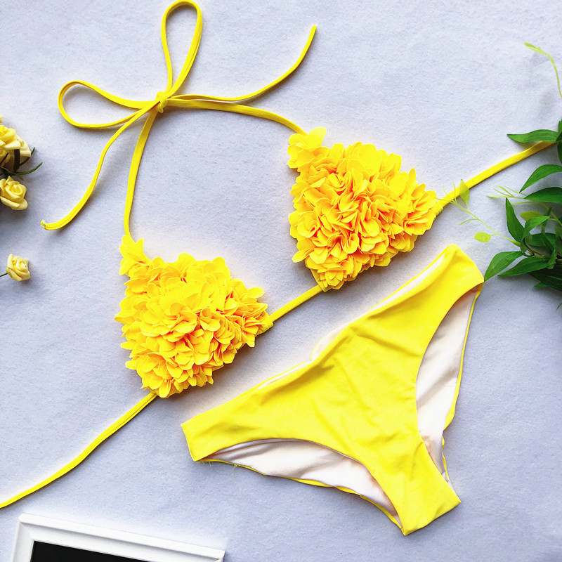 Yellow Flower Bikini Set Red Shirred Bikinis 2019 Mujer Maillot De Bain Femme Bandage Pleated Swimsuit Women Push Up Swimwear