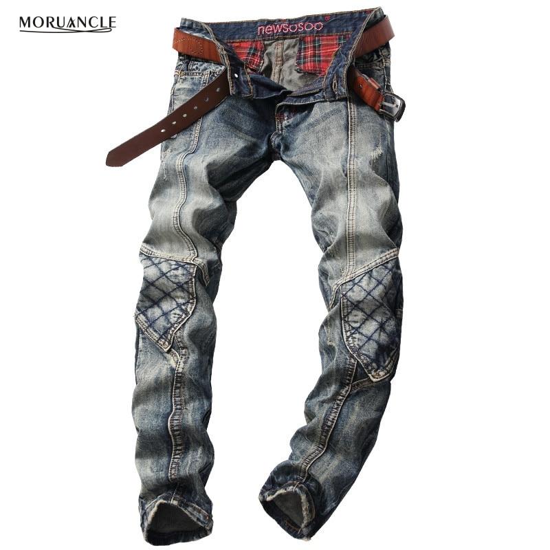 ФОТО 2017 New Mens Cargo Jeans Joggers Fashion Designer Vintage Denim Pants For Man Slim Fit Straight Jean Trousers Patchwork E0018