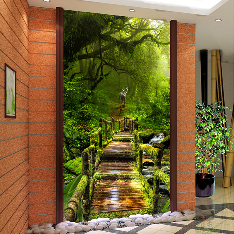 Custom 3D Photo Wallpaper Virgin Forest Wood Board Road 3D Living Room Entrance Hall Corridor Background Wall Mural Home Decor custom 3d wallpapers mural non woven fabric 3d room wallpaper forest road 3 d space background wall photo 3d wall home decor