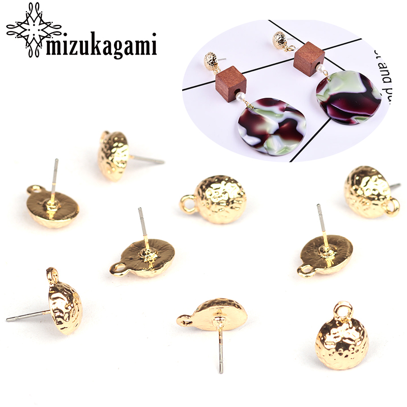 10mm 10pcs/lot Zinc Alloy Stud Earrings Gold Round Base Earrings Connectors For DIY Earrings Jewelry Making Finding Accessories