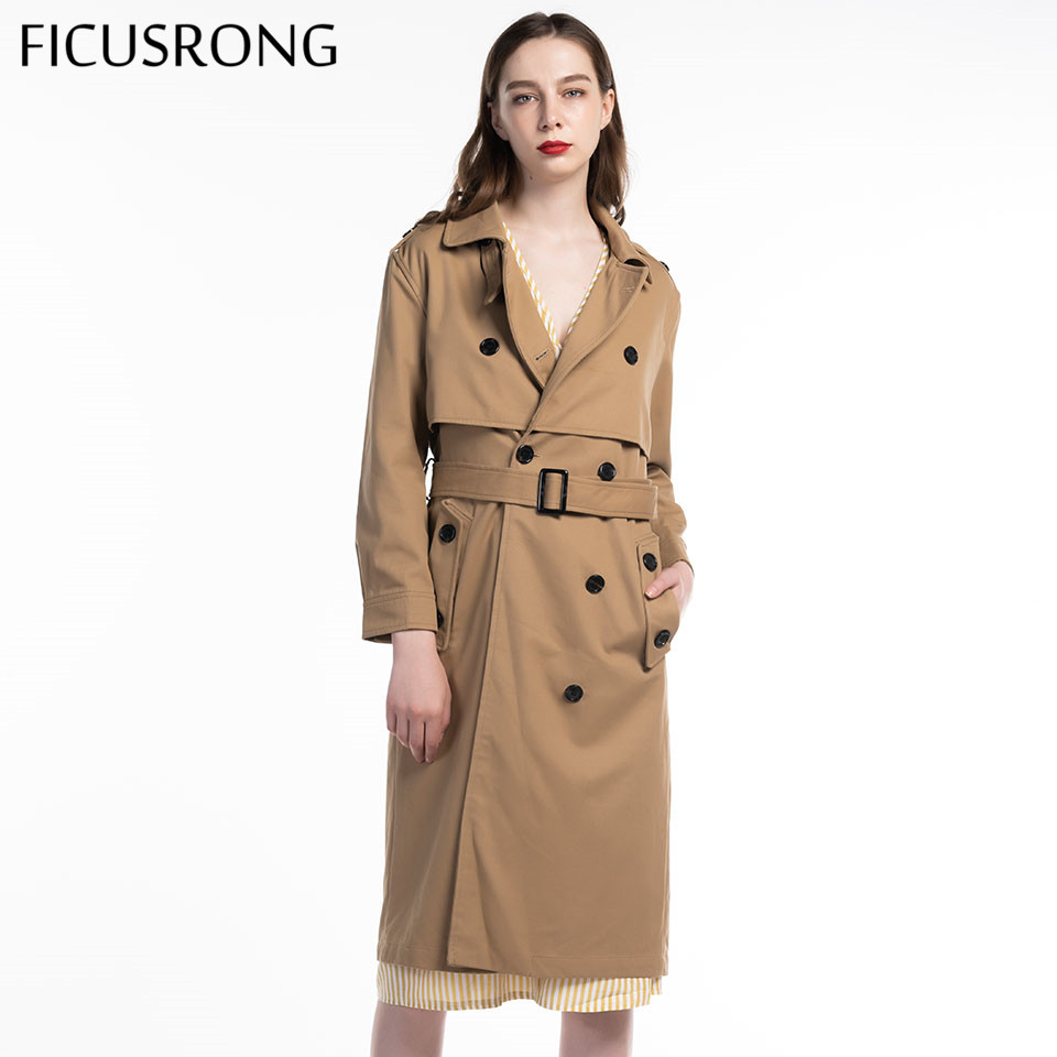Fashion Women Sashes Office Lady Coat Chic Epaulet Design Long Trench Female Solid Double Breasted Outwear FICUSRONG 2019 New