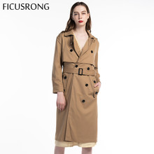 Fashion Women Sashes Office Lady Coat Chic Epaulet Design Long Trench Female Solid Double Breasted Outwear FICUSRONG 2019 New double breasted belt epaulet design turndown collar wool coat