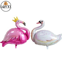 50pcs Big white swan balloon happy Birthday Party Decoration kids toy baby shower girl animals globos pink flamingo Crown baloon