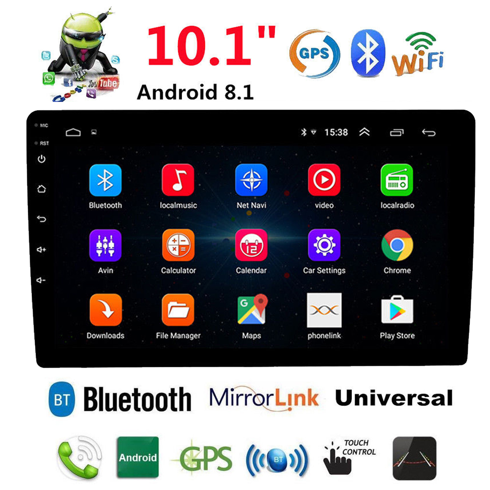Android 8.1 Auto Radio Car Radio GPS Navigation Audio Player 10.1 Inch 2 DIN Car Multimedia Player Stereo Head Unit WIFI AM/FM