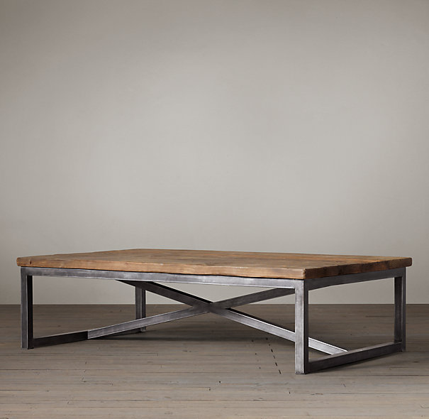 French American Furniture , Wrought Iron Furniture, Wrought Iron Coffee  Table Made Of Old Elm