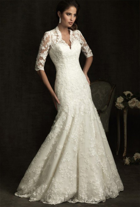 Word shoulder sleeve v neck white wedding dress fishtail for High collared wedding dress