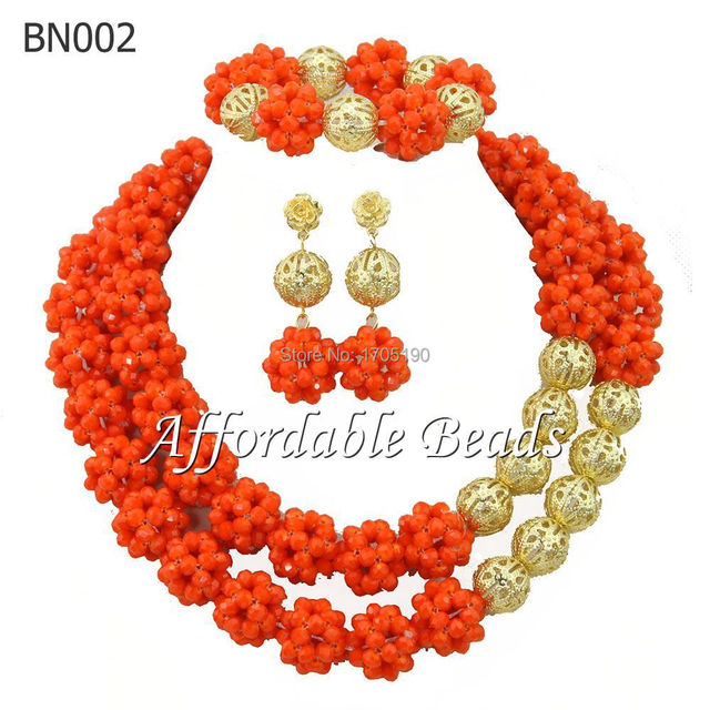 Gorgeous Orange African Beads Jewelry Set 2 Rows Nigerian Wedding African Costume Crystal Jewelry Sets Free Shipping BN002