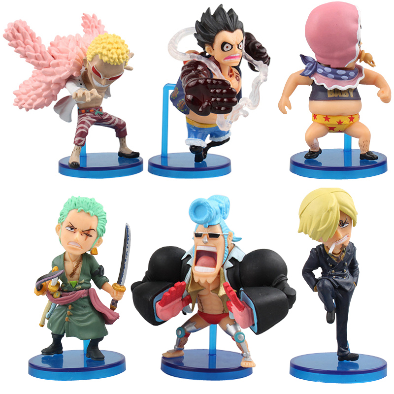 6 Pcs/Set One Piece Action Figure Anime Franky Donquixote Doflamingo Luffy Gear 4 WCF Fight Classic Collection PVC Model Toys anime one piece 6pcs set gear fourth luffy zoro franky sanji doflamingo pvc action figure collectible model toy 7cm 8 5cm kt2384