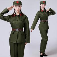 Army green Suit Red Army Warrior Women performance wear masquerade clothes female military Clothing Uniforms For Women