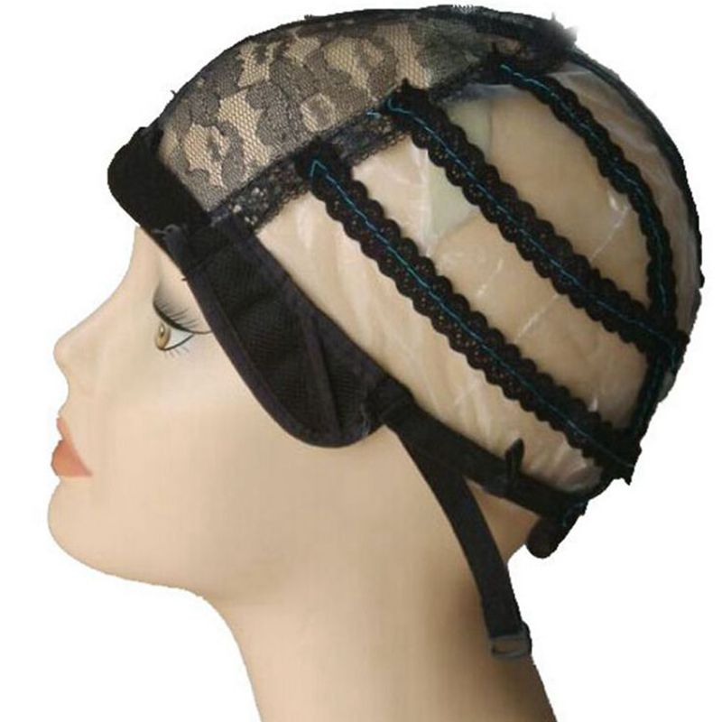 5PCS/Lot Black Plastic Mesh Caps for making wigs Weaving cap with adjustable strap S M L size