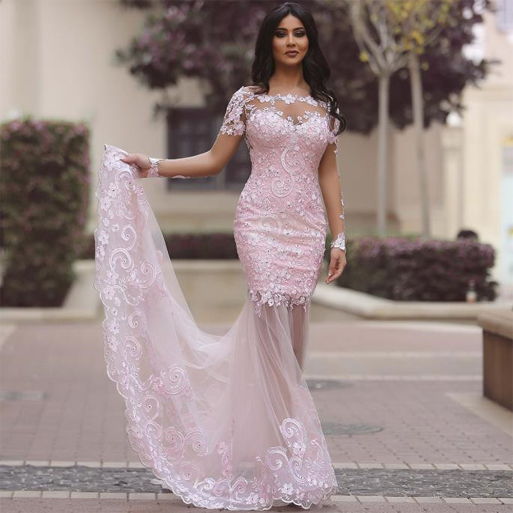 8664d0866b7 Sexy See Through Pink Evening Dress Long Sleeve Backless Formal Dresses  Women Evening Party Gowns Lace Mermaid Dresses PE58