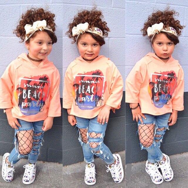 01de57b69ba3 2018 Autumn Kids Fashion Girls Clothing Sets 3 pcs Top & hole Casual  Jeans&Hair band Girls Clothes Set MCC018