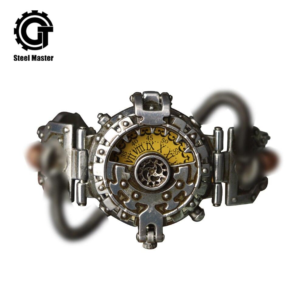 2019 Steampunk montre hommes argent métal femmes rétro mode Prop chronographe montres Original montre-bracelet de mouvements Brassy