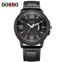 DOOBP Luxury Top Brand Fashion Casual Leather Quartz Wristwatch Analog Sport Watch Men Military Clock Man