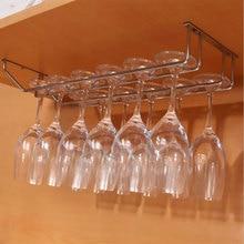Нержавеющая сталь винный шкаф держатель 1/2/3 ряда вина Стекло держатель стойка для фужеров стенной шкаф для хранения Организатор