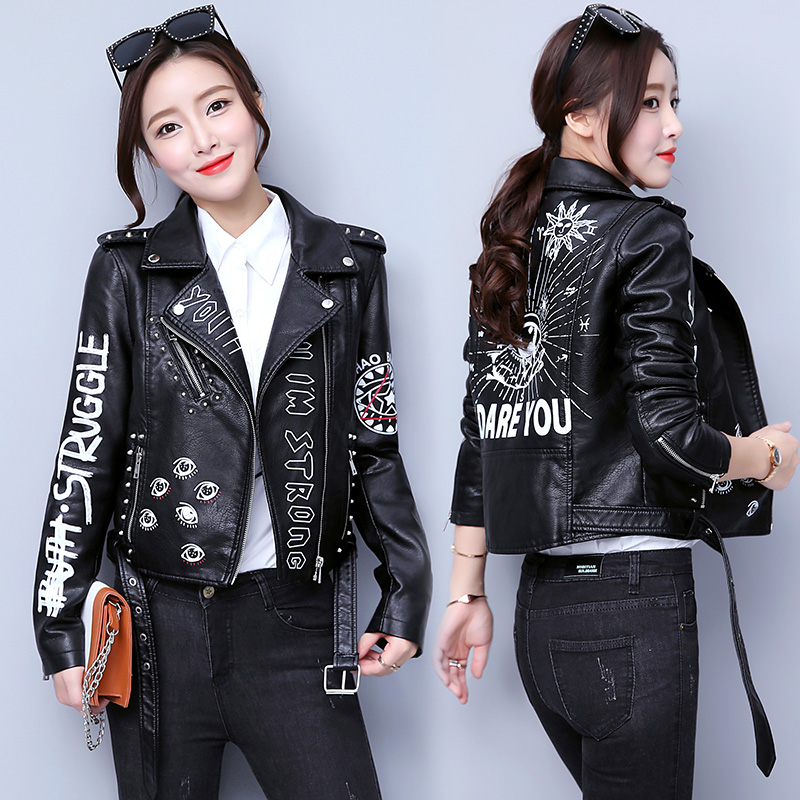 Women Printed Letters Rivet Pu Leather Jacket Punk Moto   Coat   Black Faux Jacket Fashion Zipper Streetwear