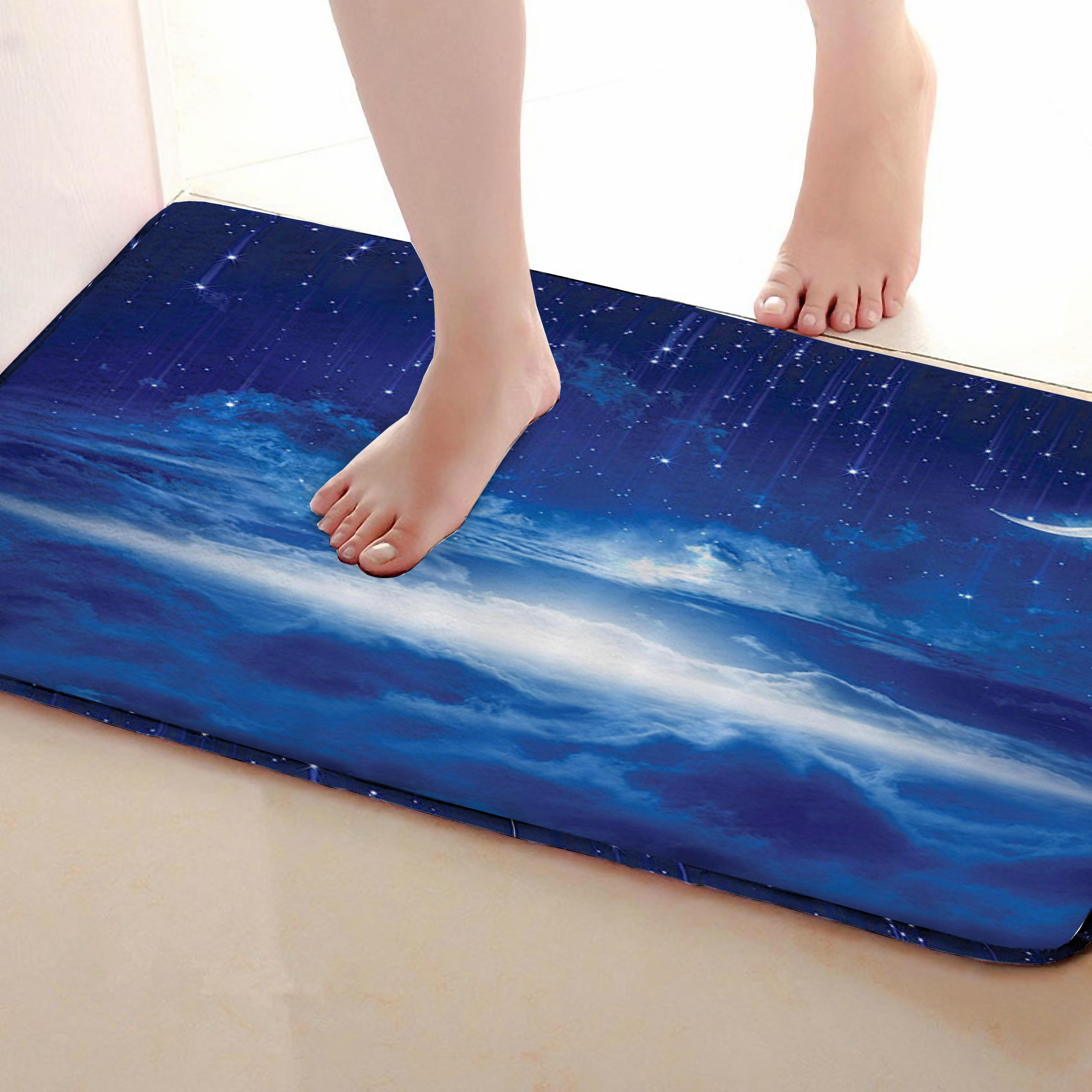 Night Style Bathroom Mat,Funny Anti Skid Bath Mat,Shower Curtains Accessories,Matching Your Shower Curtain