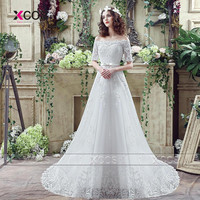 Greek Country Style Wedding Dresses Lace Half Sleeve A Line Elegant White Bridal Dress White Gowns