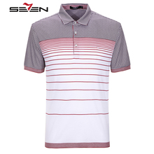 Seven7 Brand Summer Men Polo Shirt Short Sleeve 100% Cotton Striped Polo Business Casual Men Performance Polo Shirts 704T5166