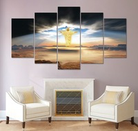 2017 Print 5 Pcs Canvas Wall Art Print The Lord Jesus Painting Wall Art Picture Home