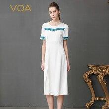 c69b01cdcff VOA Heavy Silk T Shirt Dress Women Slim Long Dresses Solid White Office  Plus Size 5XL