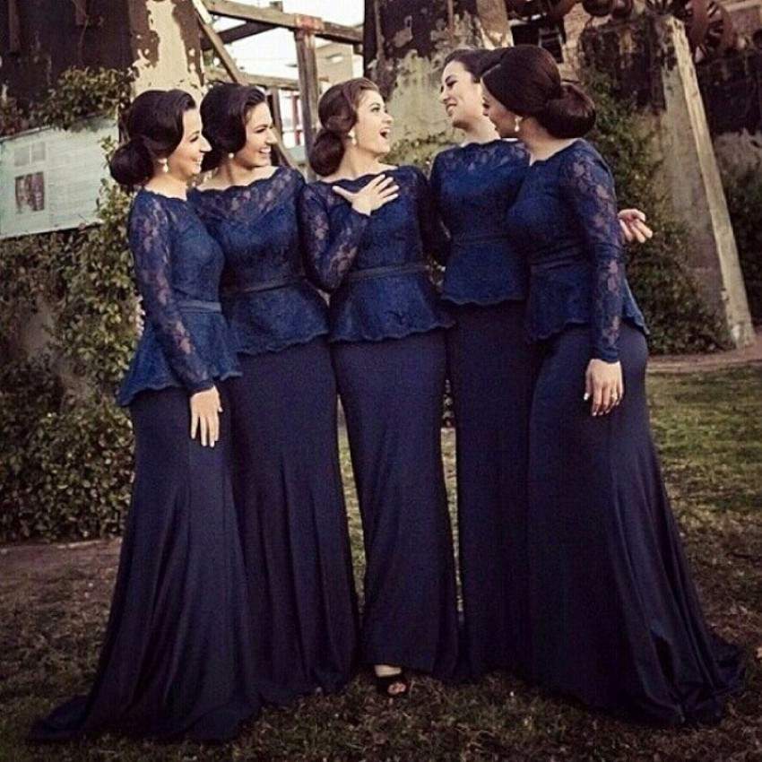 Navy Blue Bridesmaid Dresses 2017 Sexy Strapless Lace Long Sleeve