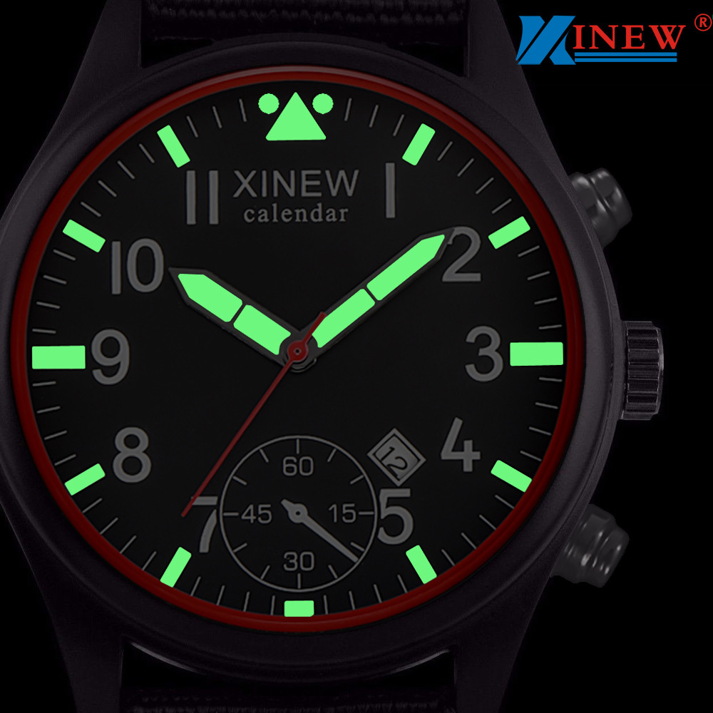 Man Watch 2019 XINEW Watch Men Analog Quartz Military Army Sport Watches Luminous Wristwatch Stainless Steel mannen horloge