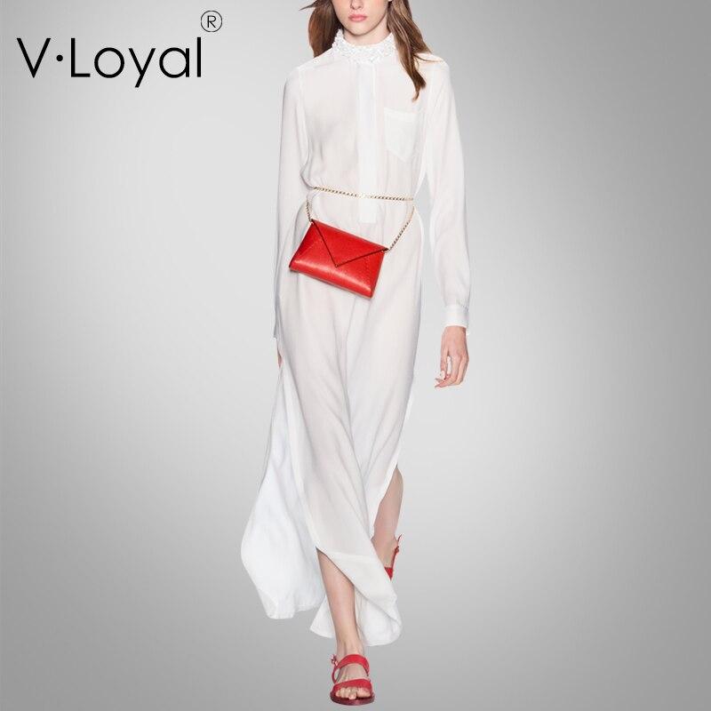 Nouveau Printemps La Au Robes En À Soie D'été White Et Mode r450rwqA