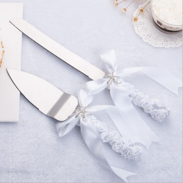 Free Shipping Personalized White Wedding Stainless Steel Cake Knife