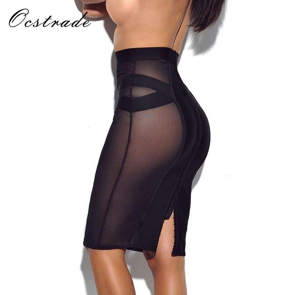 Ocstrade Naiste sidemete seelikud Suvi müük Uus moe saabumine 2018 Mini seksikas õhuke musta võrgusilma seelik seelik Bodycon