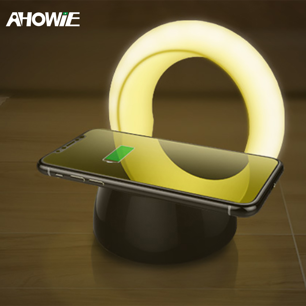 Ahowie Qi Wireless Charger Led For Iphone X 8 Plus Xs Xr