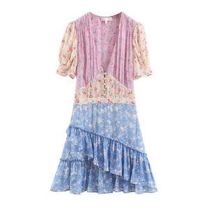 Image 5 - Boho loveshack summer dresses v neck ruffles slim silk like holiday ins bloggers patchwork special interest mini dress pleated