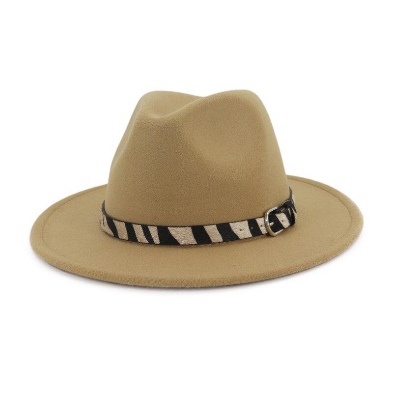 52187841 US $9.16 35% OFF QIUBOSS Cheap Fashion Handmade Wool Felt Wide Brim Fedora  Hats with Zebra stripe Belt Men Women Jazz Panama Formal Top Hat-in Fedoras  ...