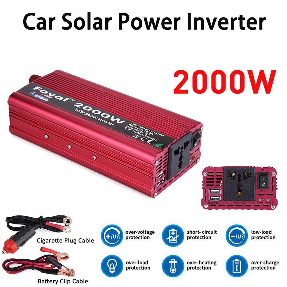 Inversor 2000 W Dual USB Car Inverter 12 V 220 V DC a AC Power Inverter cargador alimentación del vehículo interruptor