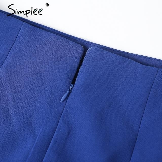 Simplee Bow high waist  blue pencil skirt Zipper 2017 new button short skirt Causal streetwear women skirt bottoms